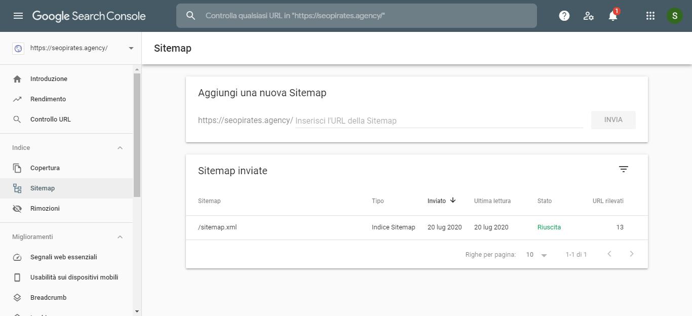 Sitemap Google Seatch Console inserita