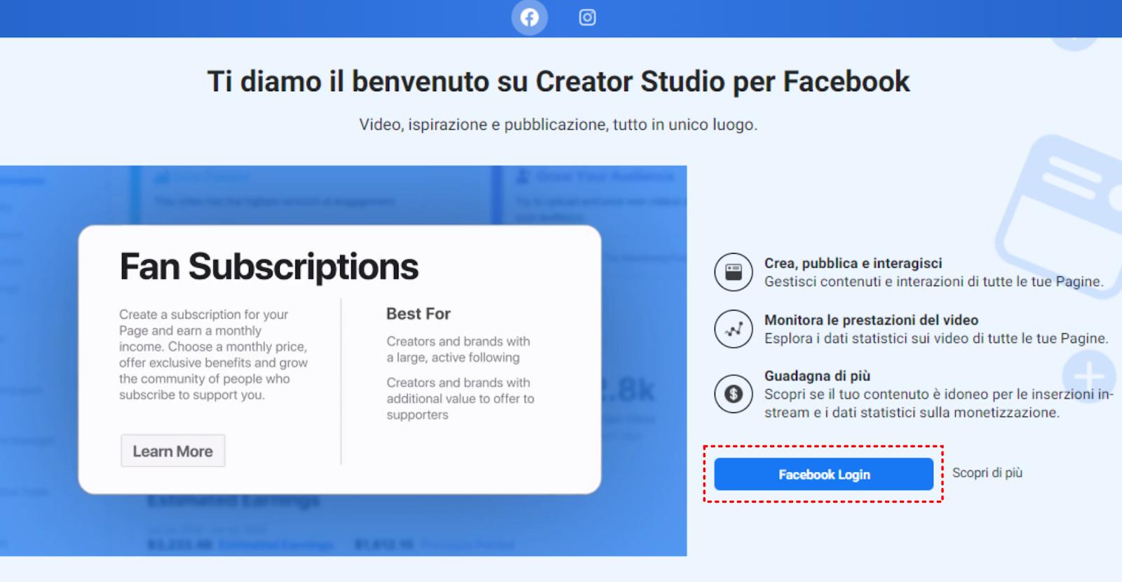 Creator studio - Facebook login