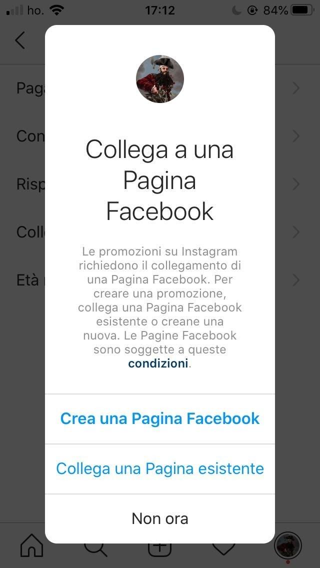 collega una pagina Facebook a Instagram - opzioni