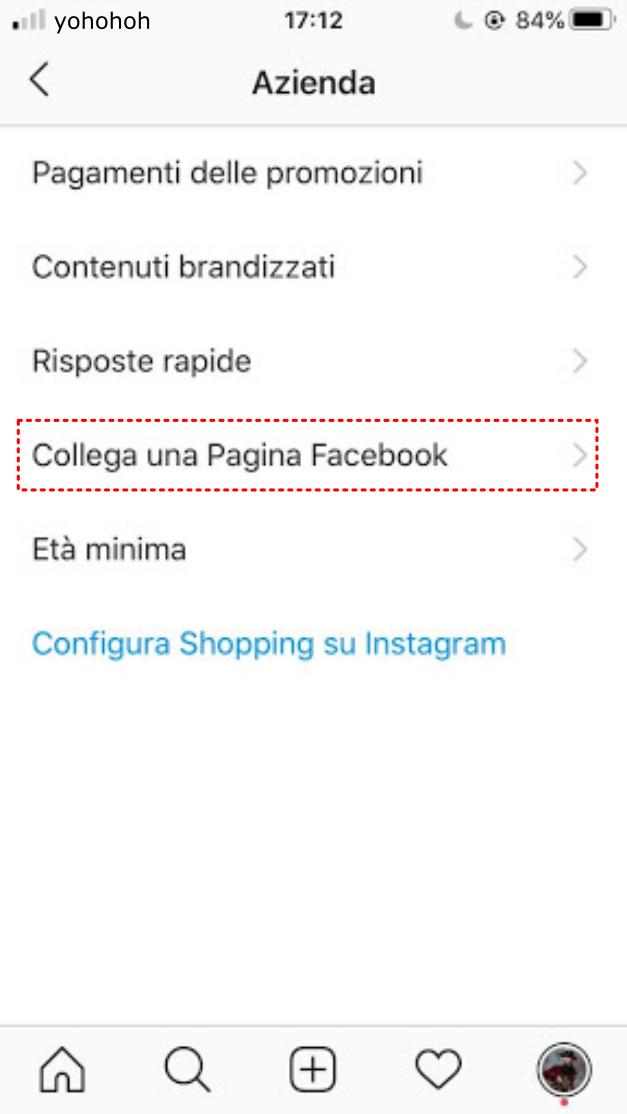 collega una pagina Facebook a Instagram - pagina aziendale