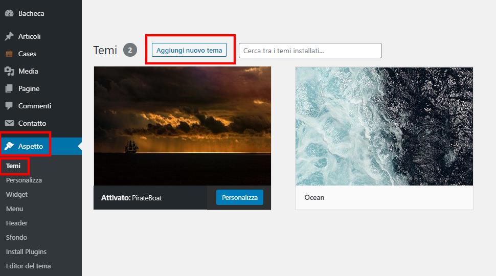 bacheca aspetto aggiungi tema installare tema su wordpress