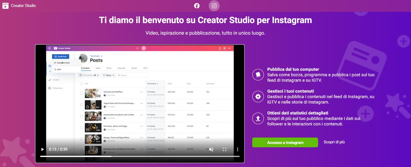 creator studio app per programmare post su Instagram