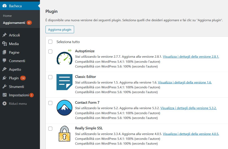 aggiornare plugin wordpress