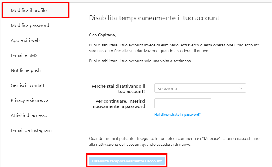 disabilita temporaneamente account instagram (1)