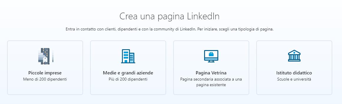 crea una pagina aziendale linkedin scegli