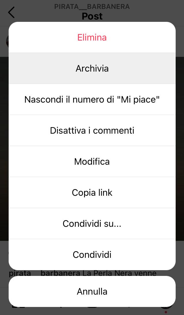 come archiaviare post instagram archivia2