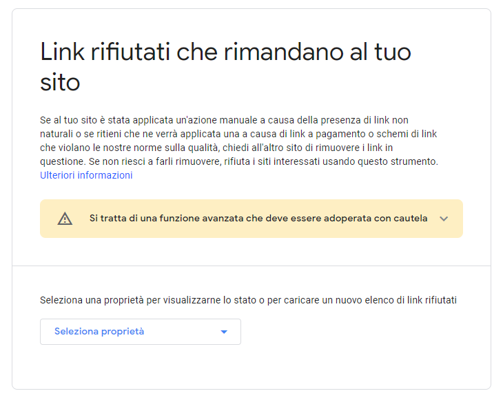 come rifiutare backlink tool google