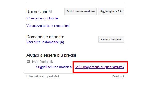 rivendica scheda google my business